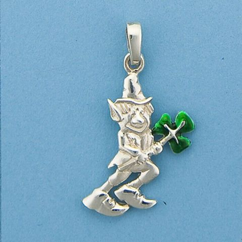 Genuine 925 Sterling Silver Leprechaun With Green Enamel Clover Charm / Pendant